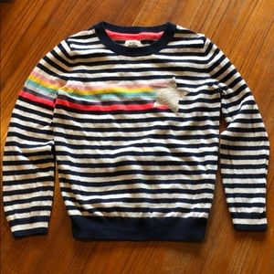 Mini Boden striped rainbow star sweater